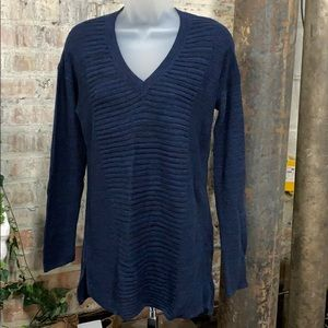NWT Ellen Tracy Marbled Knit Top Admiral Blue